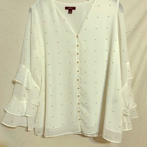 NWT ALFANI White & Gold POLKA Dotty Blouse